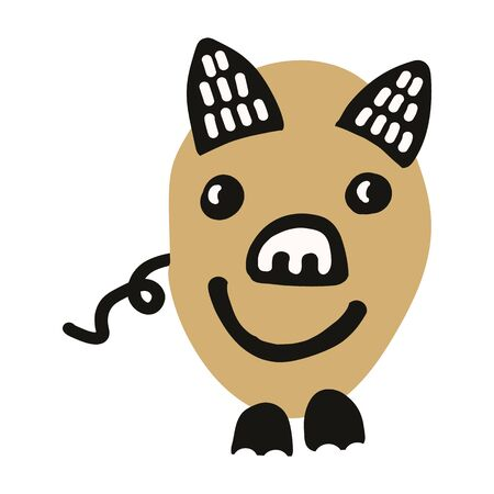 Kawaii doodle pig clipart. Hand drawn fat farm hog. Livestock cute illustration in flat color. Isolated kids, boar, swine, mammal. Ilustracja
