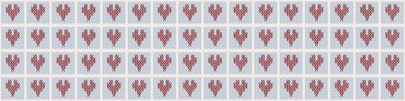 Heart Embroidery Blanket Knit Stitch Seamless Border Pattern. Homespun Handicraft Background. Woolen Love Fabric, Gender Neutral Baby Textile Ribbon Yarn Melange. Scandi Stitch Banner. Ilustração
