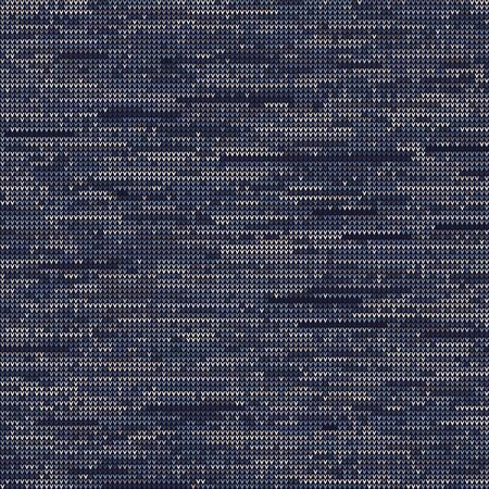 Knitted Marl Variegated Heather Texture Background. Denim Gray Blue Blended Line Seamless Pattern. For Woolen Fabric, Dyed Nordic Textile, Triblend Melange Scandi All Over Print. Vector Ilustração