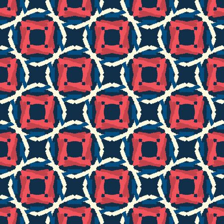 Classic Blue Hand Drawn Spotty Polka Dot Seamless Pattern. Mariner Style Geometric Circle Background in Indigo Red. Dotted Interlocking Navy Blu Rope Texture Allover Print. 일러스트