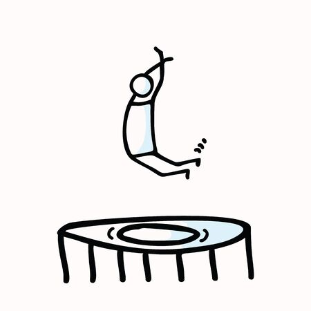 Hand Drawn Stickman Jumping in Air on Trampoline. Concept Physical Exercise. Simple Icon Motif for Jumpo for Joy Stick Figure Pictogram. Energy, Movement, Sport, Gym Bujo Illustration. Illusztráció