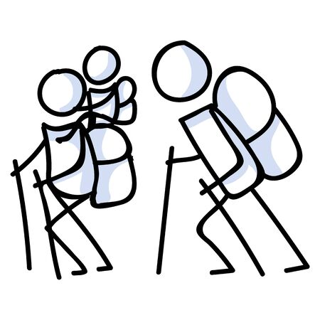 Hiking stick figure family line art icon. Carrying backpack, piggyback ride, track pole and kids . Outdoor leisure walking, climbing and trekking lifestyle . Wilderness adventure and nature.