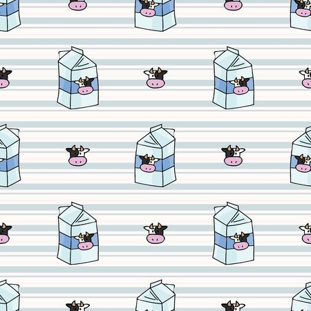 Hand drawn dairy cute cow face and milk carton seamless vector pattern. Kawaii horned livestock mammal. Domesticated cattle on blue gingham background. Natural farmyard calf all over.