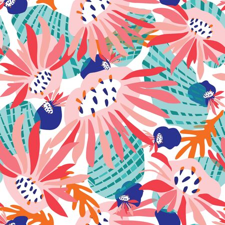Hand Painted Bold Summer Bloom Floral Motif Seamless Pattern. Classic Blue Pink Flower Petal Background. Modern Bright Cut Out Collage Style Textile. Exotic Tropic All Over Print Vector Eps.