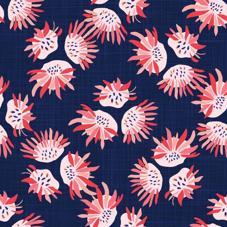 Hand Painted Bold Summer Bloom Floral Motif Seamless Pattern. Classic Blue Pink Flower Petal Background. Modern Bright Cut Out Collage Style Textile. Exotic Hawaiian Allover Print Vector.