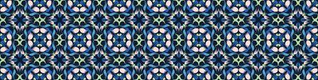 Classic Blue Floral Symmetry Motif Banner Background. Dark Abstract Flower Leaf Mosaic Seamless Border Pattern. Elegant Exotic Tropical Bloom Stained Glass Effect Indigo Ribbon Trim Edge. Ilustração