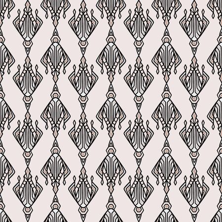 Vintage Art Deco Jewel Motif Vector Seamless Pattern. Stylised 1920s style Geometric Flourish Damask Background. Hand Drawn Ornate Classic Decor Textile. Ornamental Flourish All Over Print.