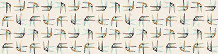 Mid Century Modern Vector Vintage Banner Background. Architectural Archway Trend Shape Pattern Edging. Seamless 1970s Style Retro Fabric Geometric Ribbon Trim Edge. Hip Beige Brown Flat Color. Illusztráció