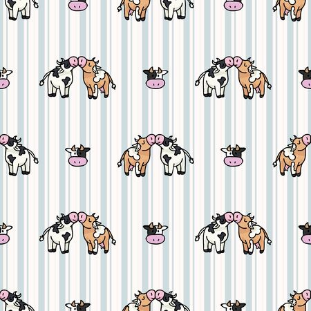 Hand drawn dairy cute cow love carton seamless vector pattern. Kawaii horned livestock mammal. Domesticated cattle on blue gingham background. Natural farmyard calf all over. Ilustrace