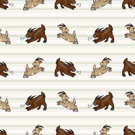 Hand drawn cute naive style jumping and angry goat seamless vector pattern. Cute alpine billy goat on heart background. Baby livestock all over print. Farm animal doodle.