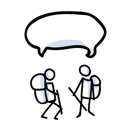 Hiking stick figure line art speech bubble icon. Carrying backpack, track pole with group . Outdoor leisure walking, climbing trekking lifestyle . Wilderness adventure and nature travel bonding.