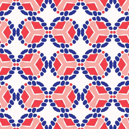 Classic Blue Hand Drawn Spotty Polka Dot Seamless Pattern. Mariner Style Geometric Circle Background in Indigo Red. Dotted Interlocking Navy Blu Rope Texture Allover Print. Vector Eps.