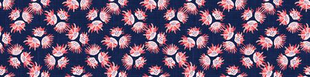 Hand Painted BoldVector Summer Bloom Floral Motif Seamless Banner Pattern. Classic Blue Pink Flower Petal Border Background. Modern Bright Cut Out Collage Style. Exotic Tropic Ribbon Trim Edge.