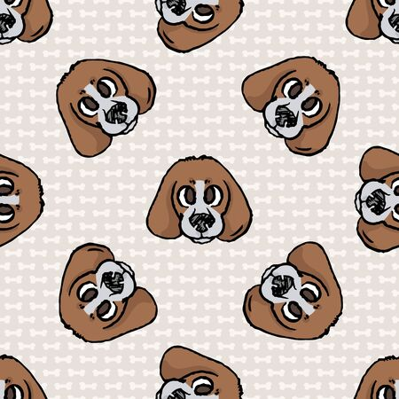 Hand drawn cute puppy foxhound hunting dog face seamless vector pattern. Purebred pedigree domestic dog on paw background. Dog lover english pet all over print. Kennel pooch. Illustration