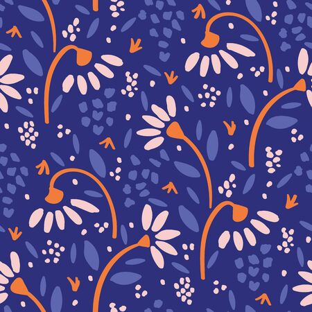 Hand Drawn Vector Classic Blue Daisy Summer Bloom Floral Motif Seamless Pattern. Pretty Vintage Flower Petal Background. Modern Feminine Cut Out Collage Style All Over Print. Repeat Tile Swatch.