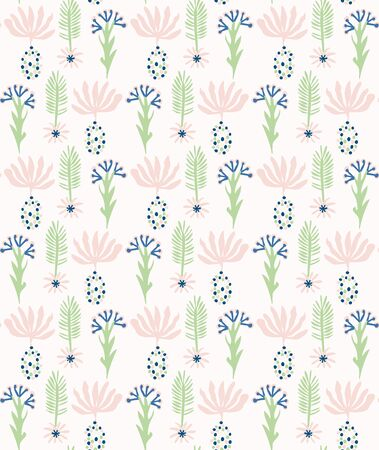Paper Cut Out Flower Shapes Pattern. Seamless Summer Spring Background. Hand Drawn Style Collage Graphic Illustration for Modern Fashion Textile, Feminine Exotic Floral Allover Backdrop. Vettoriali