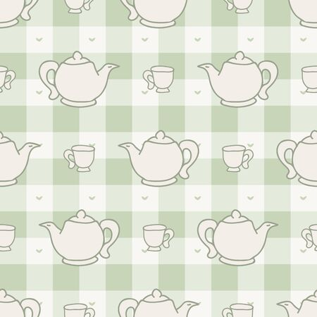 Cute afternoon teapot and teacup seamless vector pattern. Hand drawn green gingham domestic ceramic kettle background. Hot drink kitchenware home decor. British crockery.