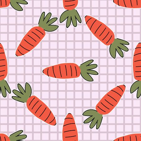 Hand drawn cute carrot on stripe seamless pattern. Vector farm fresh produce background. Farmers market vegetable. Root all over print. Self sufficient .