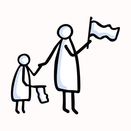 Mother and Child Stick Figure People Waving Flag. Hand Drawn Isolated Human Doodle Icon Motif. Clip Art Element. Black White For Encouragement, Support, Helping Hand Concept. Pictogram.