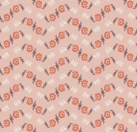 1970s Retro Daisy Blossom Motif Background. Naive Margerite Flower Seamless Pattern. Floral Chevron Stripe. Delicate Hand Drawn Textile. Bold Spring Daisies Vintage Repeat Illustration.