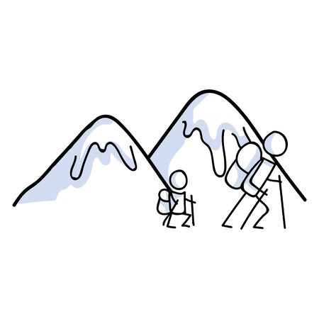 Hiking stick figure line art icon. Carrying backpack, track pole and kids.Leisure walking, climbing and parent family trekking with kid lifestyle . Wilderness adventure and nature travel bonding .