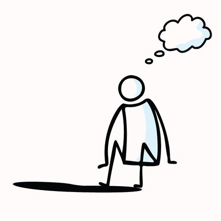 Hand Drawn Stick Figure Sit on Edge. Concept Decision Making, Dip Toe into New, Thinking of Risk. Simple Icon Motif for Pictogram with Think Bubble to Ad Text. Graphic Illustration.