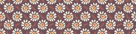 1970s Retro Daisy Wildflower Motif Banner Background. Naive Margerite Flower Seamless Pattern. White on Brown Border. Hand Drawn Textile. Bold Summer Bloom Vintage Ribbon Trim Edge. Vector. Çizim