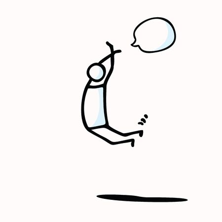 Hand Drawn Stickman Person Jumping in Air. Concept Physical Exercise. Simple Icon Motif . Hop Jump for Joy Stick Figure Pictogram. Energy, Sport, Start Fresh Illustration. Add Text . Illustration
