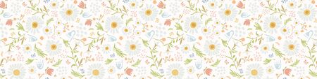Chamomile Lawn Daisy Wildflower Motif Banner Background. Naive Margerite Flower Seamless Border Pattern. Delicate Leaves Hand Drawn Whie tTextile. Spring Summer Ribbon Trim Edging. Vector .