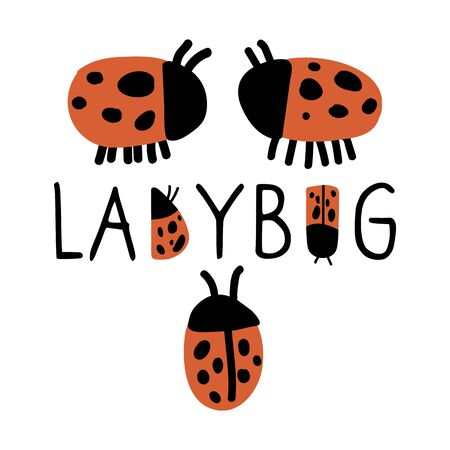 Cute typography ladybug banner with ladybirds doodle clipart. Hand drawn red spotted insect. Flat color naive entomology beetle illustration. Isolated eco, wording, dot.