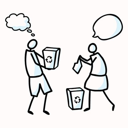 Hand Drawn Stick Figures Trash Collecting with Speech Bubbles. Concept of Clean Up Earth Day Communication. Comic Icon Motif for Environmental Earth Day, Volunteer Clip Art Illustration.