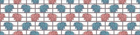 Cute Cartoon Elephant Vector Border Pattern. Kids Safari Toy Animal Fun. Playful Seamless Washi Tape Trim. Hand Drawn Gender Neutral Baby, Nursery Decor. Kawaii Zoo Family Banner Ribbon.