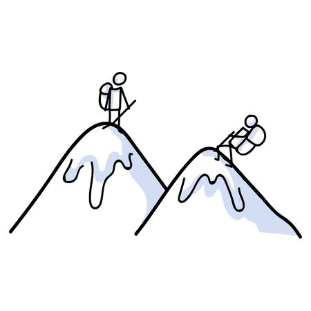 Hiking stick figure on mountain line art icon. Carrying backpack, piggyback ride, track pole and kids . Outdoor leisure walking, climbing and trekking lifestyle. Wilderness adventure nature travel.