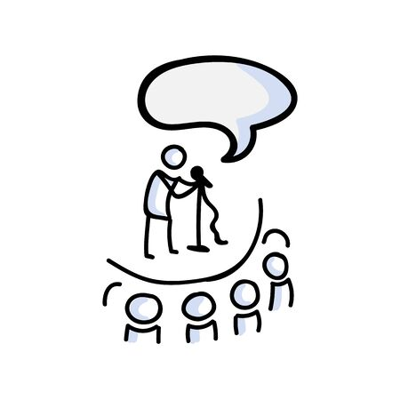 Hand Drawn Stick Figure Comedy Performer on Stage. Concept of Theatre Audience Actor. Simple Icon Motif for Speech Bubble Pictogram. Voice, Speech, Stand up, Singer Bujo Illustration
