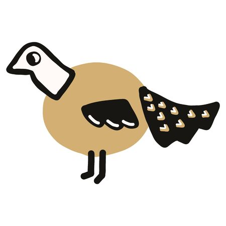 Kawaii doodle pheasant clipart. Hand drawn naive ring-necked game bird. Phasianus gamebird plumage cute illustration in flat color. Isolated nature, ornithology.