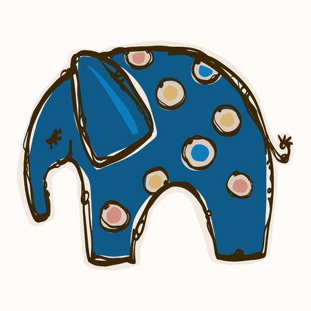 Cute Toy Elephant Clipart Vector Motif. Kids Safari Animal with Fun Playful Polka Dot Pattern. Hand Drawn for Gender Neutral Baby, Nursery and Kid Decor. Иллюстрация
