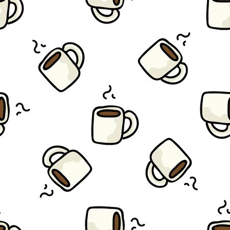 Cute Coffee Mug Cartoon Vector Illustration. Hand Drawn Hot Drink Element Clip Art for Kitchen Concept. Breakfast Graphic, Drink and Crockery Web Button Doodle Motif.
