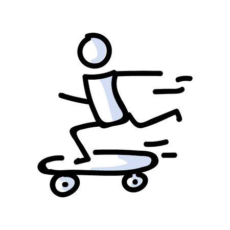 Hand Drawn Stick Figure Rider on Skateboard. Concept of Stunt Sport Activity. Simple Icon Motif for Teen Fun Skateboarder Tricks. Jump, Ride, Ramp Bujo Illustration.