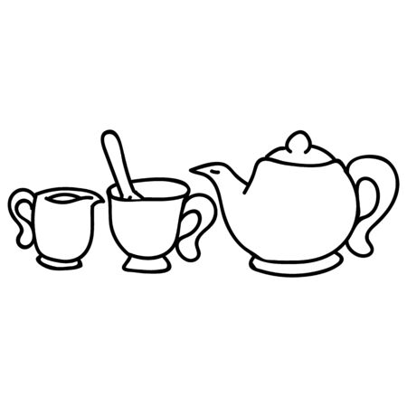 Cute afternoon tea set, teacup, teapot, clipart. Hand drawn breakfast drink kitchenware. Porcelain domestic crockery lineart in flat color. Monochrome isolated spout, utensil, hot. Vector EPS10.