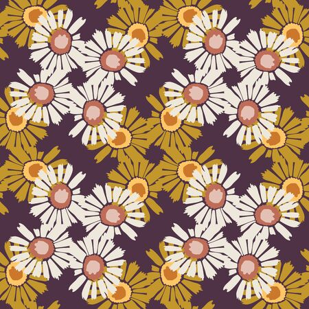 1970 s Retro Daisy Wildflower Motif Background. Naive Margerite Flower Seamless Pattern. White on Brown. Delicate Leaves Hand Drawn Textile. Bold Summer Bloom Vintage Repeat Illustration. Vector EPS 1 Çizim