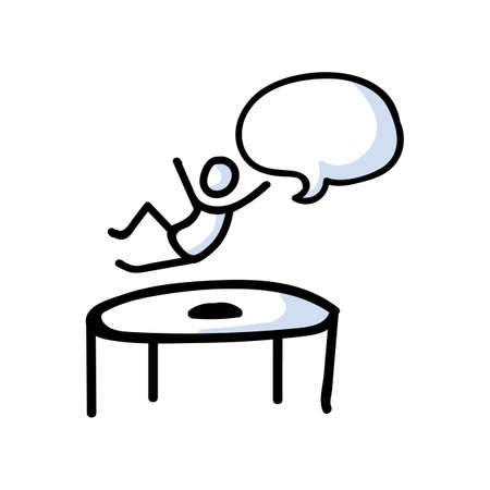 Hand Drawn Stick Figure Jumping on Trampoline. Concept Physical Exercise. Simple Icon Motif for Trapmolining Speech Bubble Pictogram. Energy, Movement, Sport, Gym Bujo Illustration. Vector Stock Illustratie