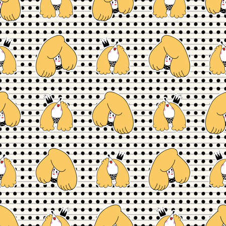 Cute girl with poodle dog seamless vector pattern. Japanese style cartoon smiling puppy animal and happy woman person background. Adorable girly hand drawn sketch of doggies and their owner. Stock Illustratie