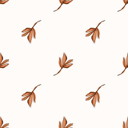Floral Leaf Motif Watercolor Background. Seamless Vector Pattern Brown on White. Delicate Hand Drawn for Textile Print, Autumn Fall Rustic Home Decor. Aquarelle Artwork Repeat Tile