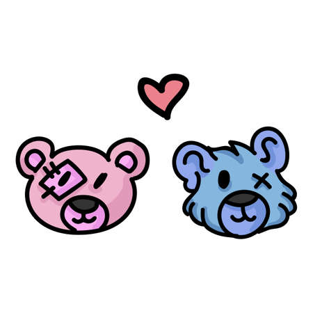 Cute plush teddy bear headshot clipart. Hand drawn relationship valentines day soft toys. Fun cuddly fluffy animal love doodle in flat color. Isolated cub, heart, cuddly, boy and girl. Vector
