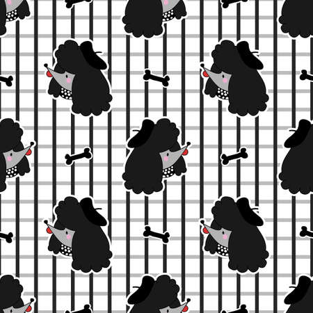 Cute black poodly puppy dog with bone seamless vector pattern. Japanese style cartoon smiling happy animal background. Adorable girly hand drawn sketch of French doggies. Stock Illustratie