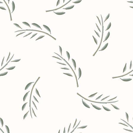 Watercolor Stem Leaf Motif Banner Background. Seamless Pattern Sage Green on White. Delicate Leaves Hand Drawn for Textiles Border. Spring Ribbon Trim. Olive Branch Aquarelle Artwork. Vector Stock Illustratie