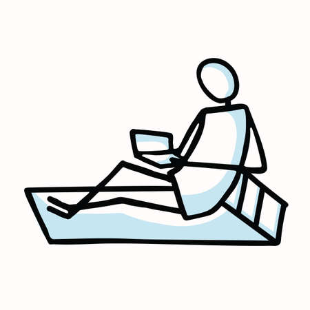 Reading Stick Figure Person Sitting with Book Comfy on Couch. Hand Drawn Isolated Human Doodle Motif Element in Flat Color. For Education, Literature, Study Concept. Pictogram Vector Stock Illustratie