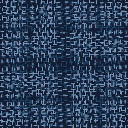 Embroidery Boro Patch Kantha Vector Pattern. Asian Needlework Seamless Background Indigo Blue Style. Sashiko Running Hand Stitch Texture Textile Print. Japan Decor. Masculine Quilting.
