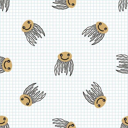 doodle marine jellyfish seamless vector pattern. Hand drawn aquatic underwater wildlife on check background. Nature, oceanography, undersea.
