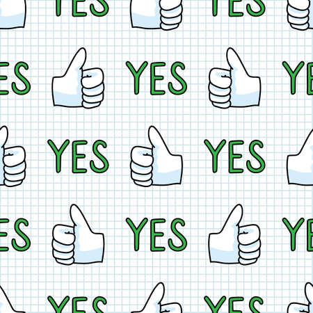 Cute thumbs up hand symbol seamless vector pattern. Hand drawn expression gesture for simple stylized sign. Hand gesture home decor. Isolated communication typography good, check all over print.